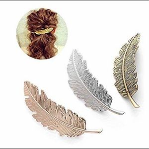 3 Feather Barrettes